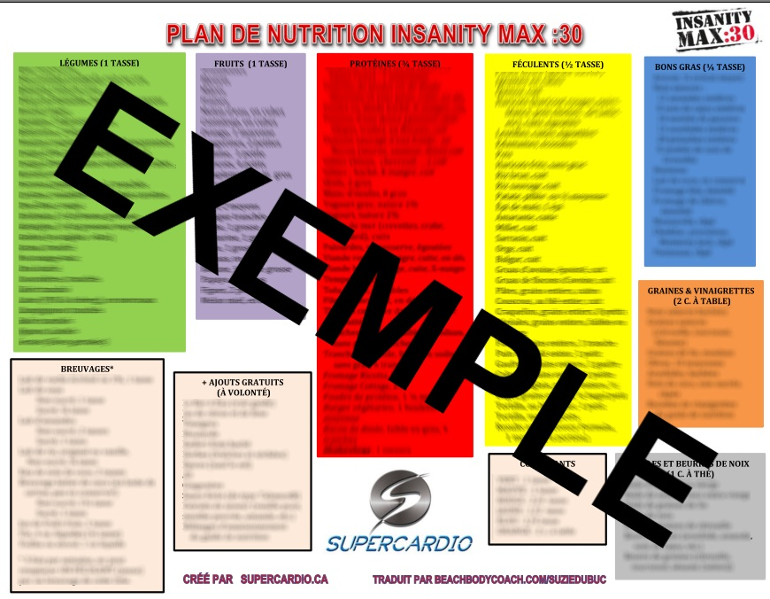 LISTE ALIMENTS INSANITY MAX 30
