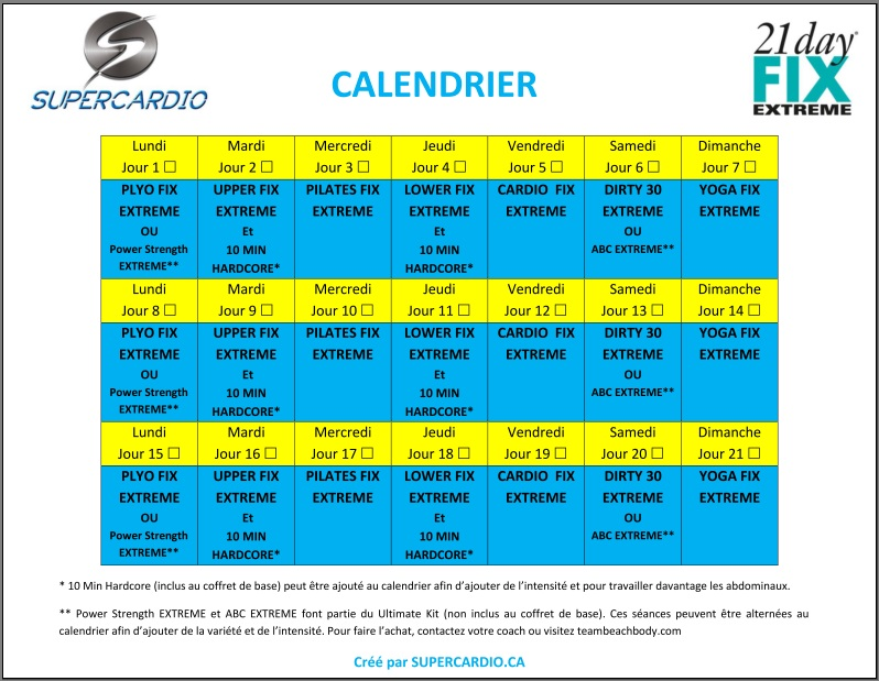 calendrier 21 day fix extreme supercardio