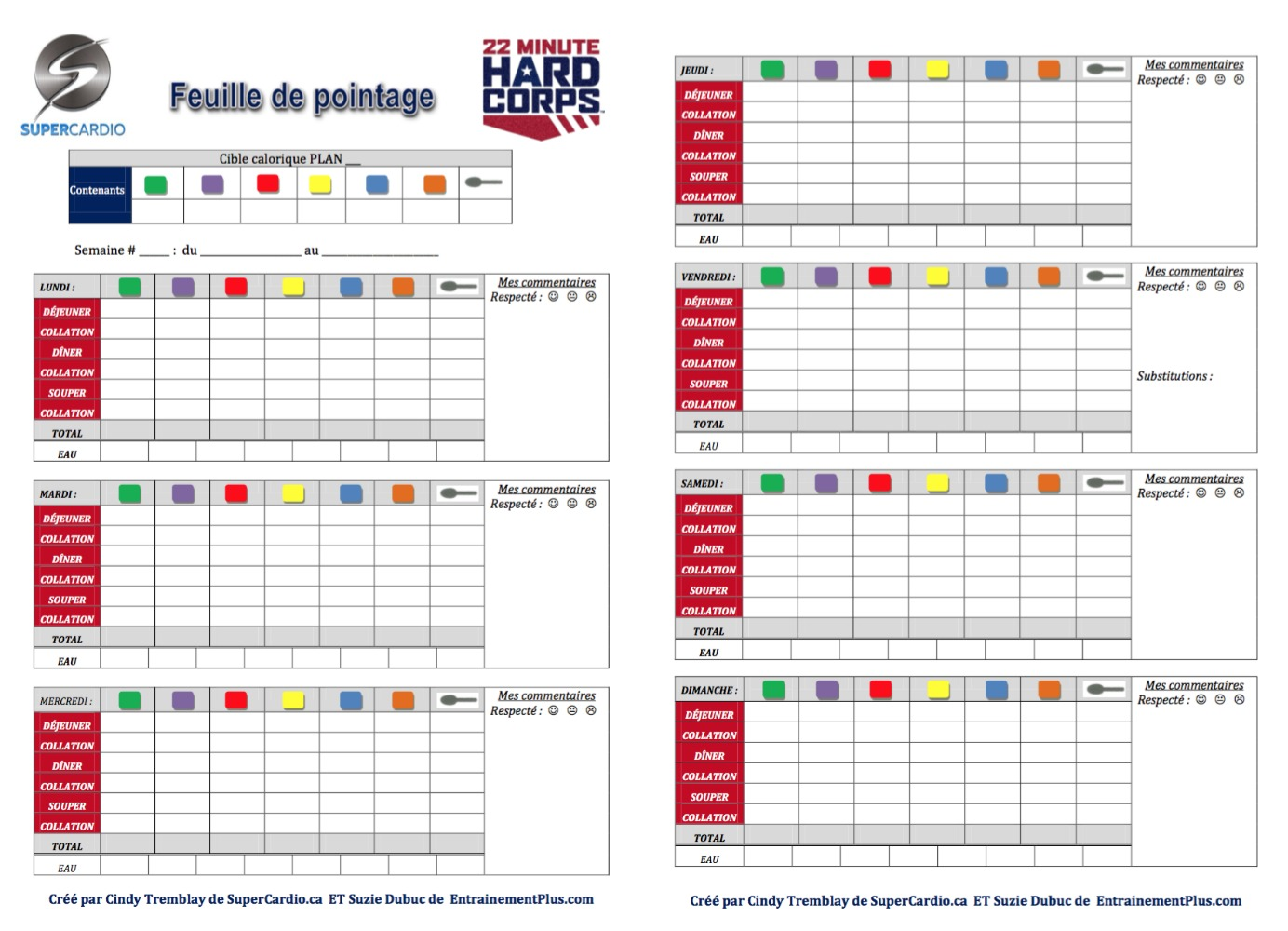 Feuille de pointage 22 Minute Hard Corps