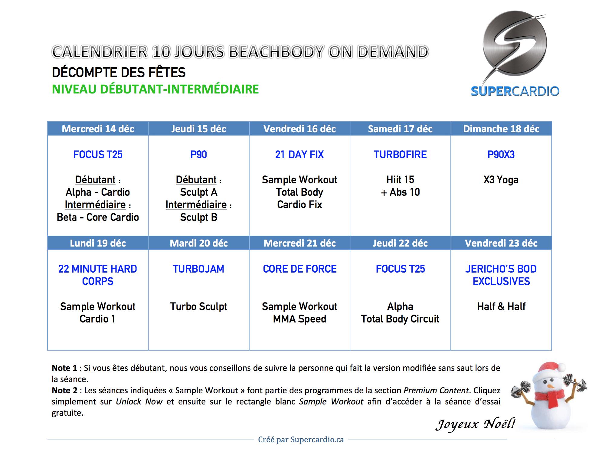 3 options de calendriers d'entrainement pour le décompte des fêtes