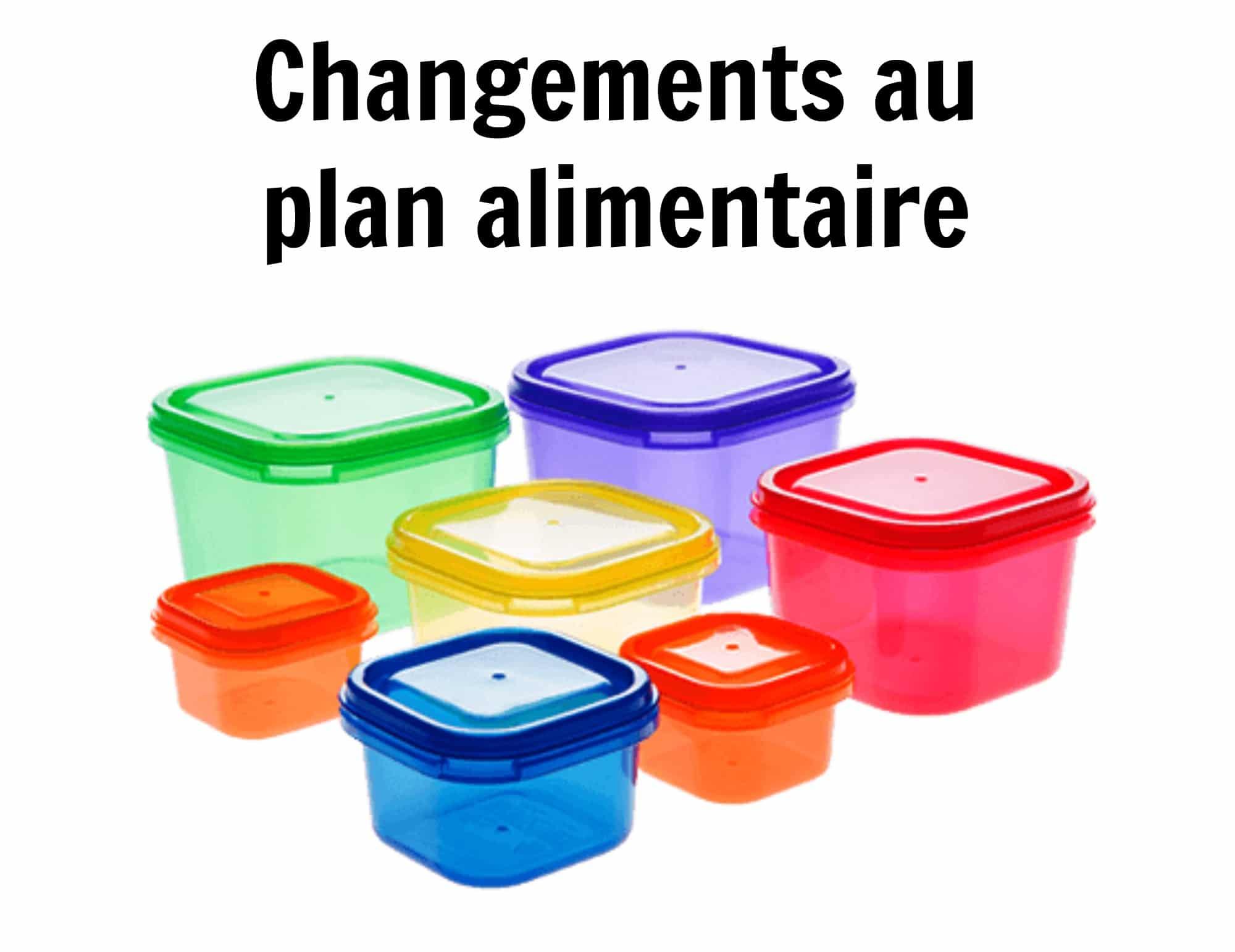 Changements au plan alimentaire : breuvages et gâteries