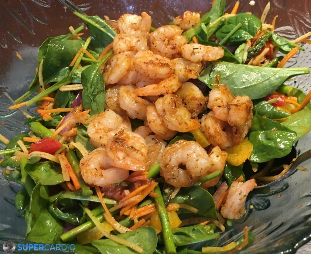 Salade aux l gumes grill s et aux crevettes vinaigrette lime chili supercardio - Recette legumes grilles au four ...